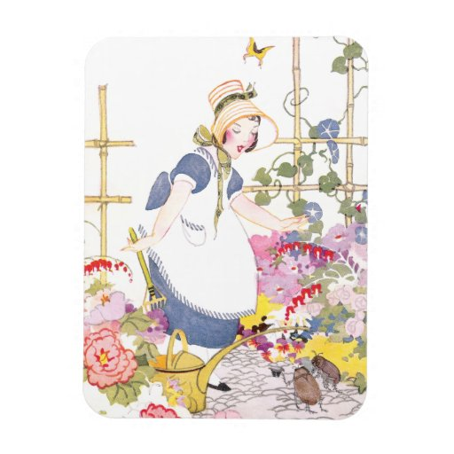 Girl with Rake and Watering Can in Flower Garden Rectangular Photo Magnet