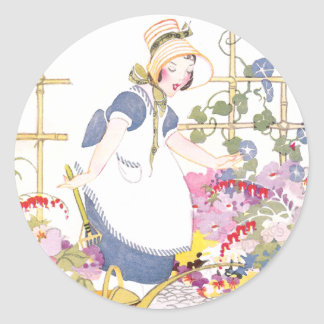 Girl with Rake and Watering Can in Flower Garden Classic Round Sticker