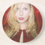 girl with red cape drink coasters