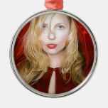 girl with red cape round metal christmas ornament