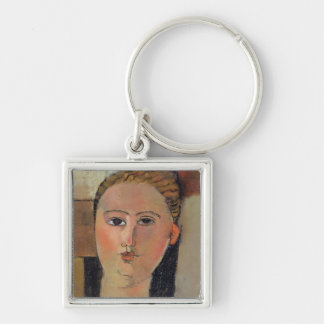 Girl with red hair, 1915 Silver-Colored square keychain