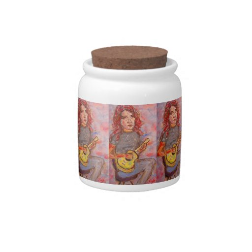 girl with red hair and ukulele candy jars