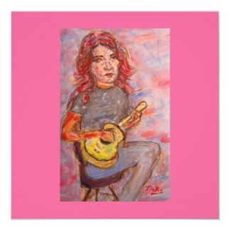 girl with red hair and ukulele card