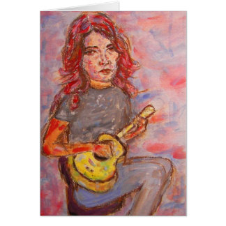 girl with red hair and ukulele greeting card