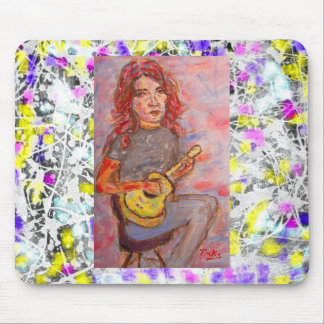 girl with red hair and ukulele drip mouse pad