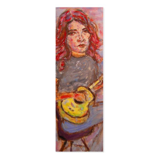 girl with red hair and ukulele mini business card