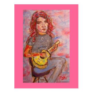 girl with red hair and ukulele postcard