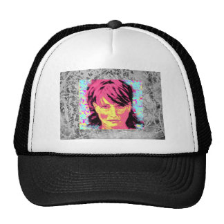 girl with red hair silver drip trucker hat