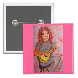 girl with red hair & ukulele pin