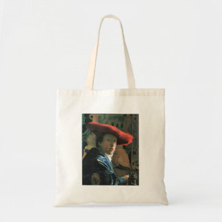 Girl with red hat by Johannes Vermeer Canvas Bag