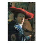Girl with red hat by Johannes Vermeer Card