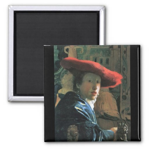 Girl with red hat by Johannes Vermeer Fridge Magnet