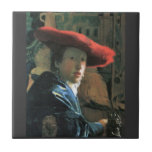 Girl with red hat by Johannes Vermeer Tile