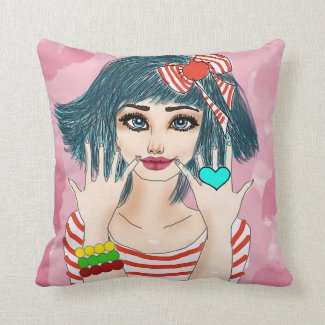 "Girl With Red Ribbon Throw Pillow 16"" x 16"""