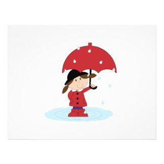 "Girl with red umbrella cartoon 8.5"" x 11"" flyer"