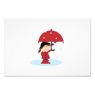 Girl with red umbrella cartoon photo art