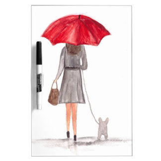 Girl with red umbrella Dry-Erase board