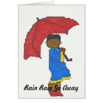 Girl with Red Umbrella Greeting Card