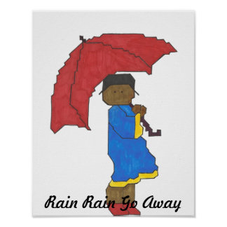 Girl With Red Umbrella Poster