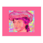 girl with renoir hat post card