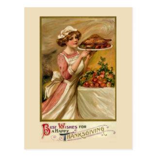 Girl with roast turkey postcard