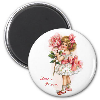 Girl with Rose 2 Inch Round Magnet