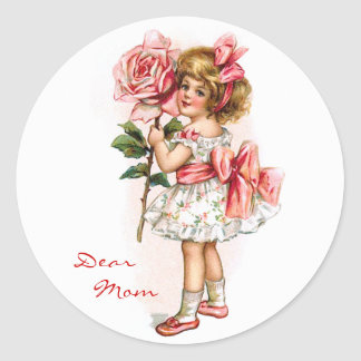 Girl with Rose Classic Round Sticker