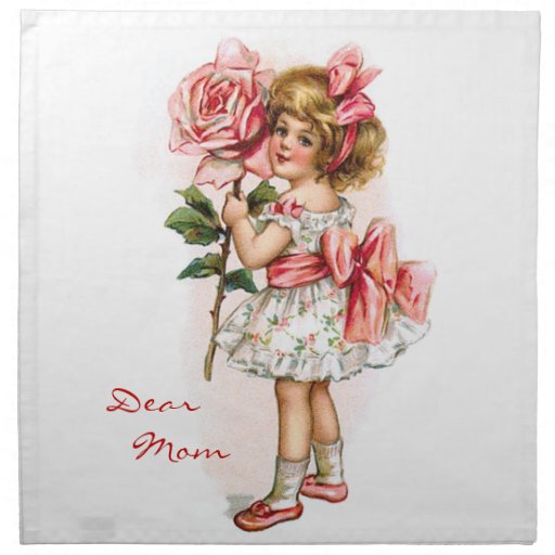 Girl with Rose Cloth Napkins