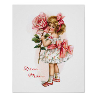 Girl with Rose Poster