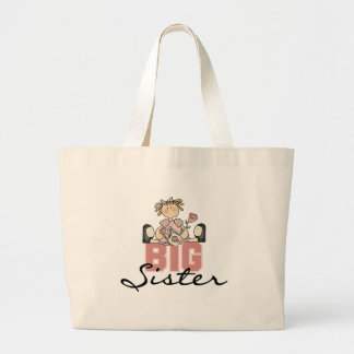 Girl with Roses Big Sister Large Tote Bag