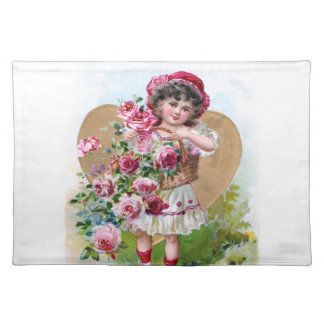 Girl with Roses Cloth Placemat