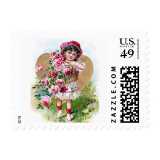 Girl with Roses Postage