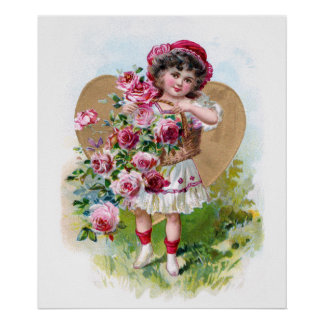 Girl with Roses Poster