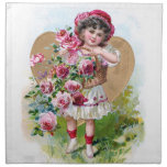 Girl with Roses Printed Napkins