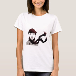 girl with scarf t-shirt
