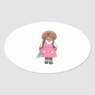 GIRL WITH SCHOOL BOOKS OVAL STICKER