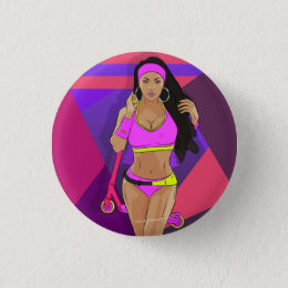 Girl with scooter pinback button