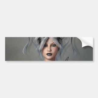 Girl with silver and black hair,Butterfly,Tattoos Bumper Sticker