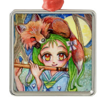Girl with Sleepy Fox Metal Ornament