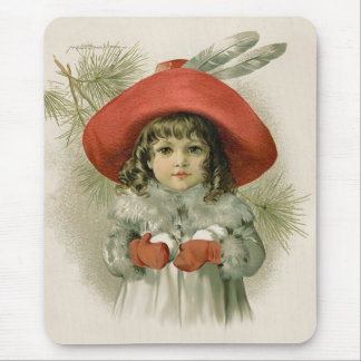 Girl with Snowballs Mouse Pad