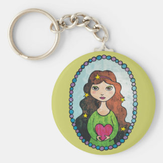 Girl with Stars in her Hair Basic Round Button Keychain