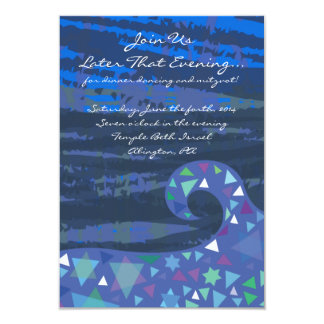 Girl with Stars in Her Hair Bat Mitzvah Party Card