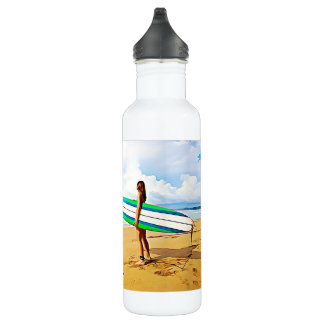 Girl with Surfboard on the Beach Water Bottle