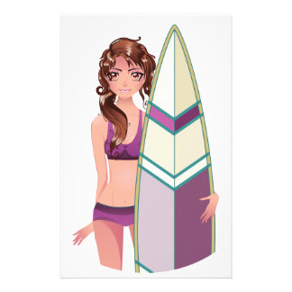 Girl with Surfing Board 2 Stationery