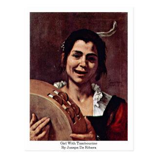 Girl With Tambourine By Jusepe De Ribera Postcard