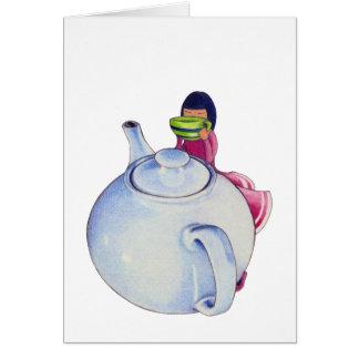 Girl with Tea Card