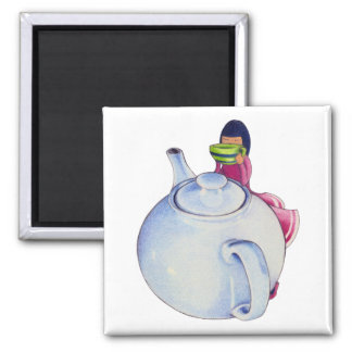Girl with Tea Magnet