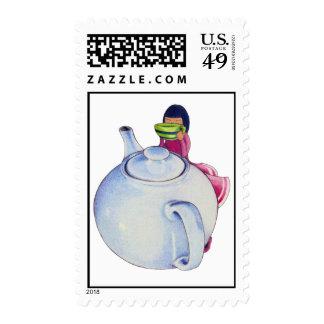 Girl with Tea Stamp