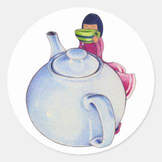 Girl with Tea Sticker