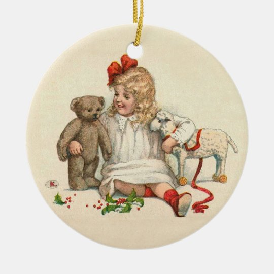 Girl with Teddy and Lamb Ceramic Ornament